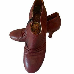 Fly London Burgundy Round Toe Bootie Leather